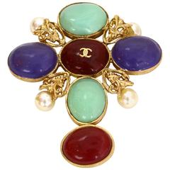 Chanel '03 Purple, Teal & Red Resin Cross Brooch/ Pendant