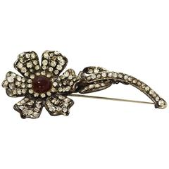 Chanel Vintage '94 Crystal & Red Glass Flower Brooch