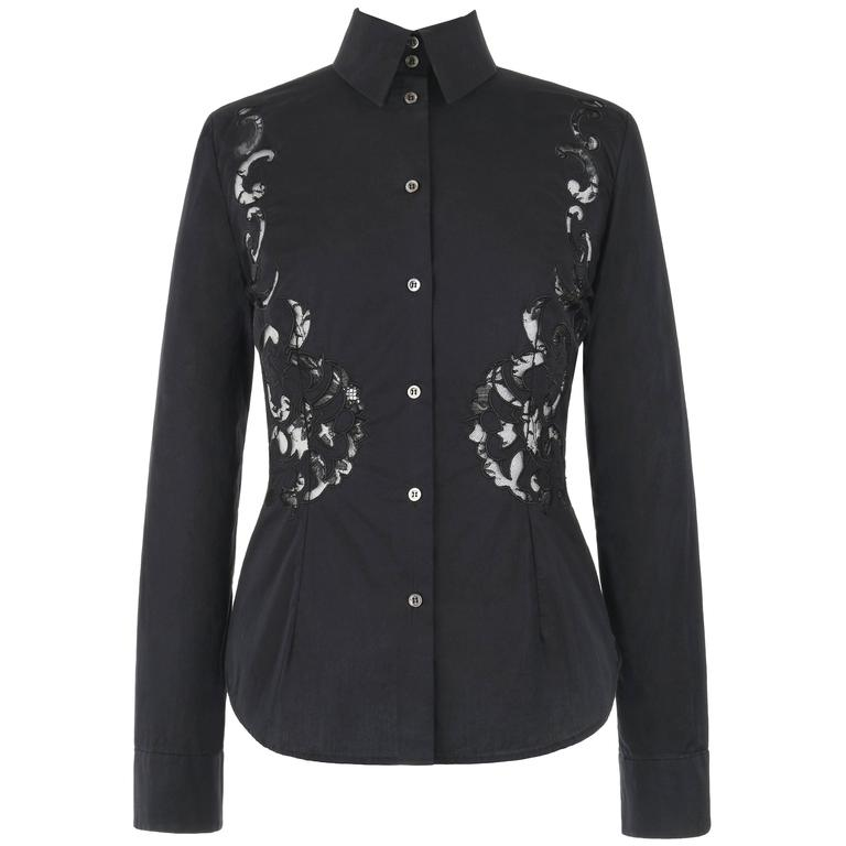 GIVENCHY Couture S/S 1998 ALEXANDER McQUEEN Black Floral Lace Cut Work Shirt 1