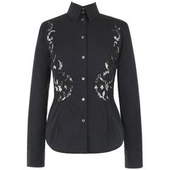 GIVENCHY Couture S/S 1998 ALEXANDER McQUEEN Black Floral Lace Cut Work Shirt