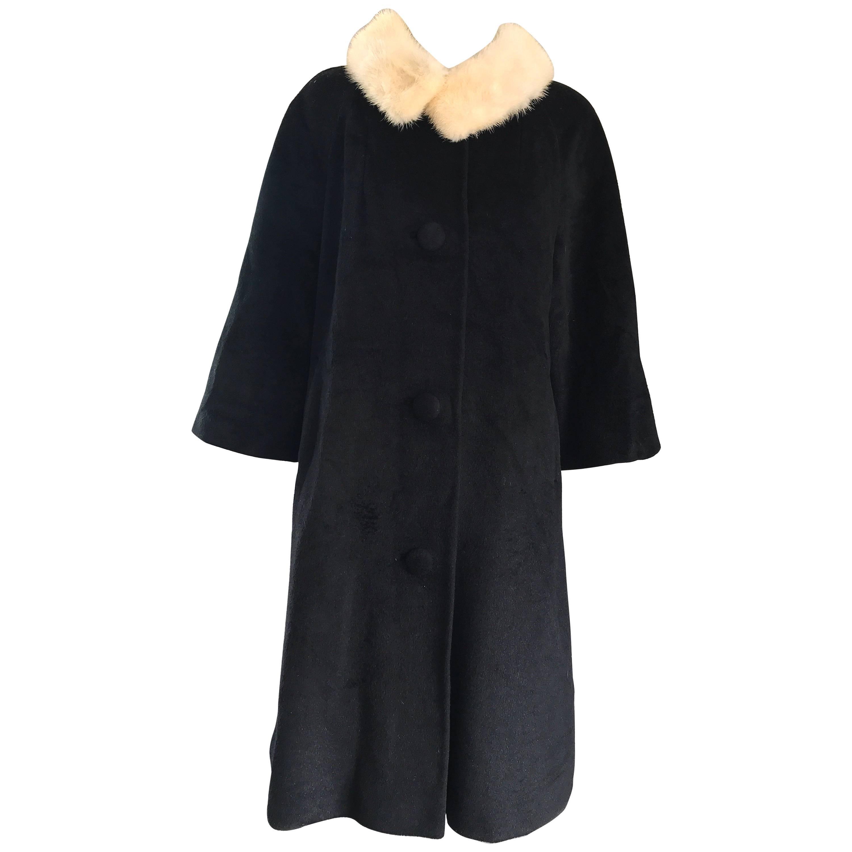 Lilli Ann 1960s Black and White Wool + Mink Fur Vintage 60s Swing Jacket Coat