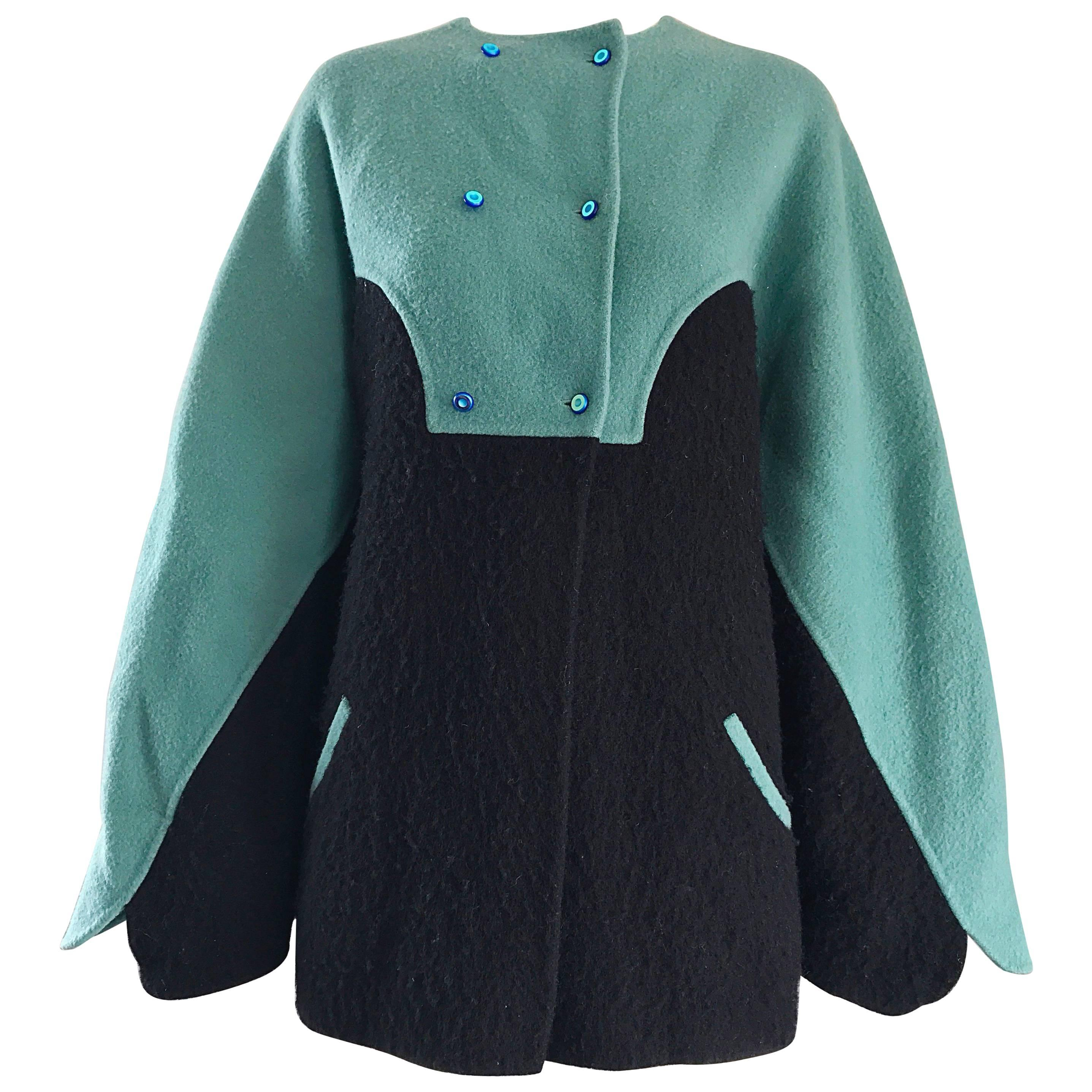 Vintage Geoffrey Beene 80s Blue Black Boiled Wool Avant Garde Swing Jacket Coat