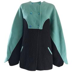 Vintage Geoffrey Beene Blue + Black Boiled Wool Avant Garde Swing Jacket Coat