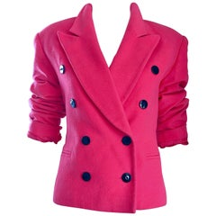 1990s ESCADA by Margaretha Ley Hot Pink Cashmere Wool Double Breasted 90s Jacket