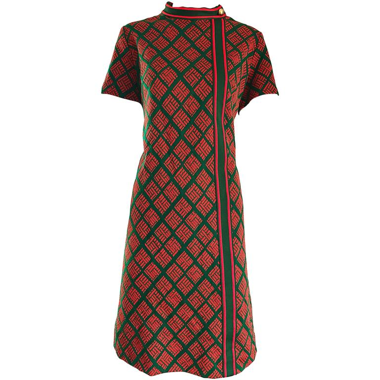 1960s Andrea Gayle Green Red Geometric Print Knit Vintage 60s Shift A Line Dress