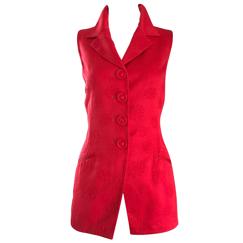 Christian Dior Vintage Lipstick Red Sleeveless Flower Print 1990s Vest Waistcoat
