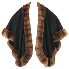 RANDOLPH DUKE Black Cashmere Cape Natural Brown Sable Fur Trimmed Shawl Wrap