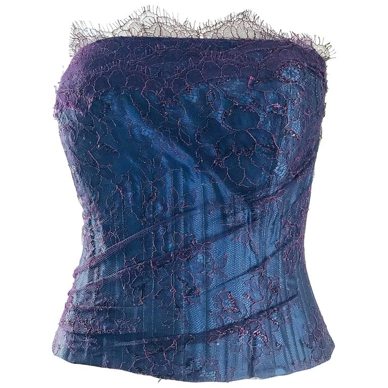 Gorgeous 1950s Purple + Blue Silk Lace Vintage 50s Bustier Corset Top Blouse
