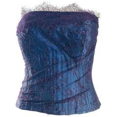 Gorgeous 1950s Purple + Blue Silk Lace Vintage 50s Bustier Corset Top Blouse