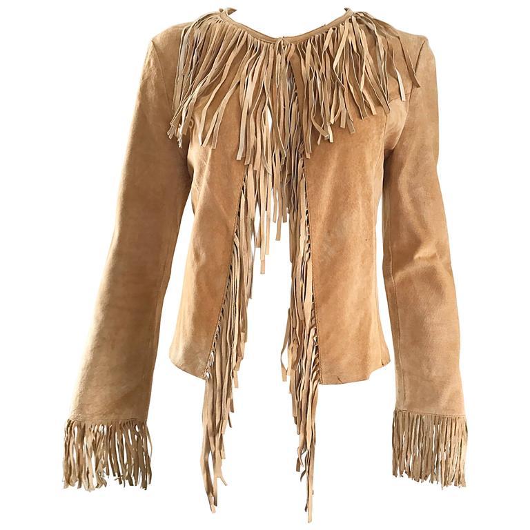 Amazing 1970s Tan Suede Leather Fringe Vintage 70s Light Brown Boho Jacket