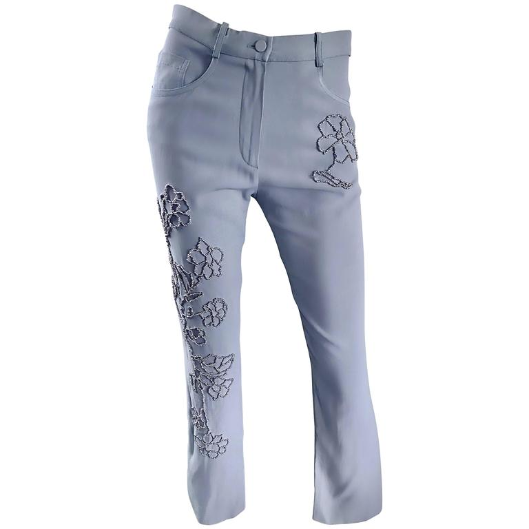Vintage Sonia Rykiel 1990s Pale Blue Silver Beaded High Waisted Slim Pants Sz 38 For Sale