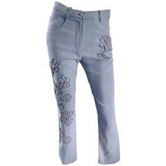 Vintage Sonia Rykiel 1990s Pale Blue Silver Beaded High Waisted Slim Pants Sz 38