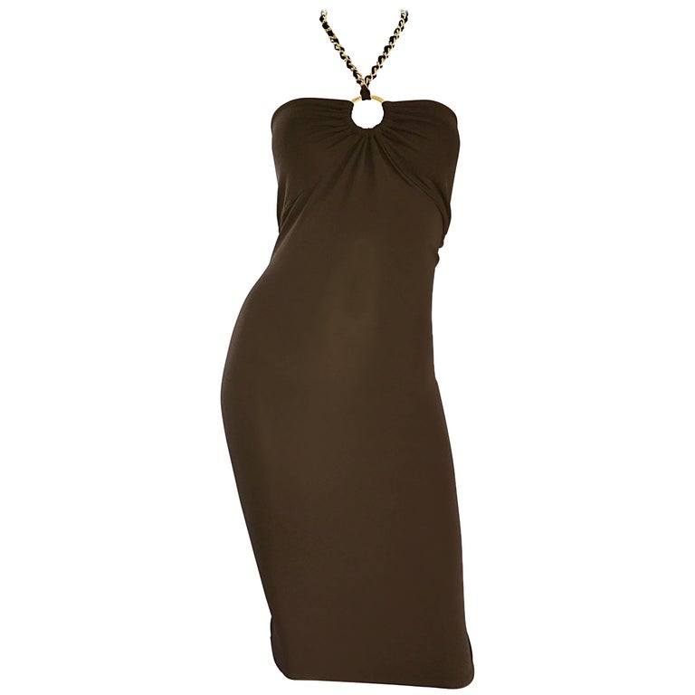 NWT Michael Kors Collection Size 12 Brown Silk Jersey Gold Chain Halter Dress For Sale