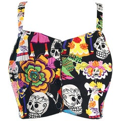 Amazing 1990s ' Day of the Dead ' Plus Size Novelty Vintage 90s Cotton Crop Top