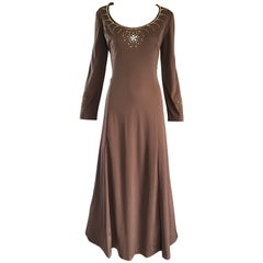 1970s Grecian Light Coffee Brown Beaded Rhinestone Vintage 70s Maxi Dress
