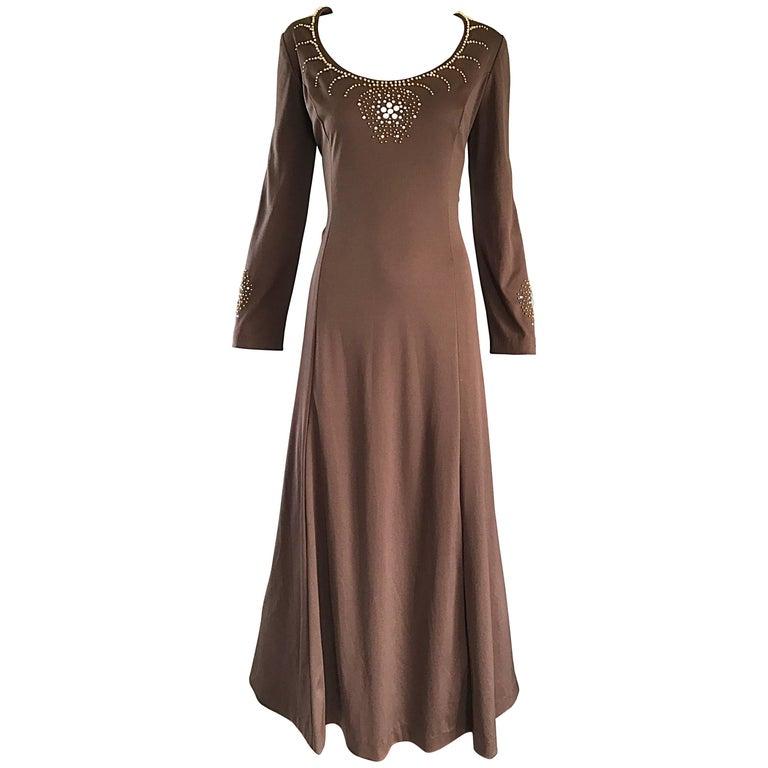 1970s Grecian Light Coffee Brown Beaded Rhinestone Vintage 70s Maxi Dress  For Sale