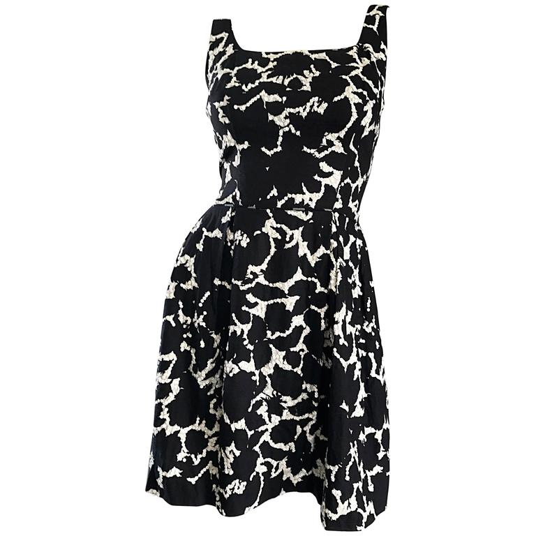 80e3ddbb9c6 1950s Black and White Leaf Print Sequin Cotton Fit and Flare 50s Vintage  Dress For Sale