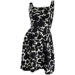 1950s Black and White Leaf Print Sequin Cotton Fit and Flare 50s Vintage Dress