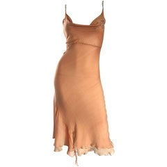 1990s Lolita Lempicka Silk Chiffon Terracotta Tan Rhinestone Vintage 90s Dress