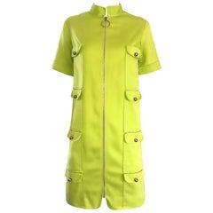 Chic 1960s I MAGNIN Mod Lime Green Zipper Vintage 60s Cargo Pocket Shift Dress