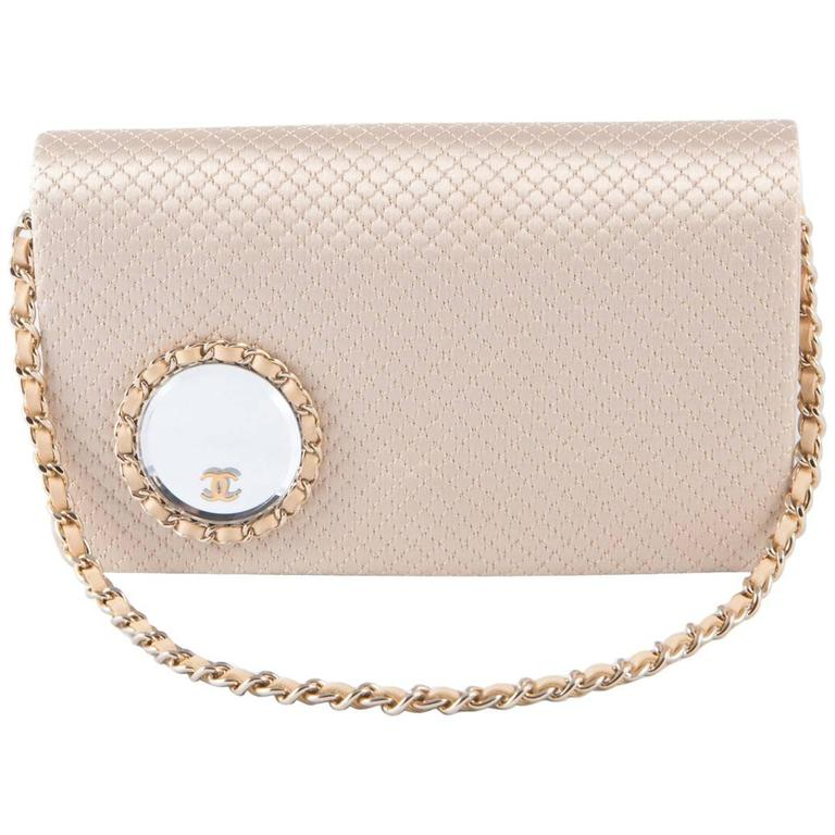 Evening Chanel Satin Quilted Clutch For Sale