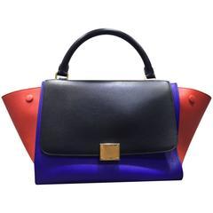 Celine Tri Colour Trapeze Leather Luggage Tote Bag with Strap