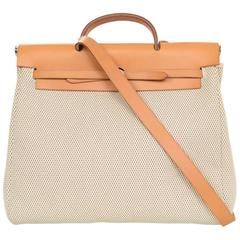 Hermes Beige Canvas & Tan Leather 2-in-1 Her Bag