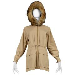 Yves Saint Laurent Safari Jacket & Fur Trim Hood