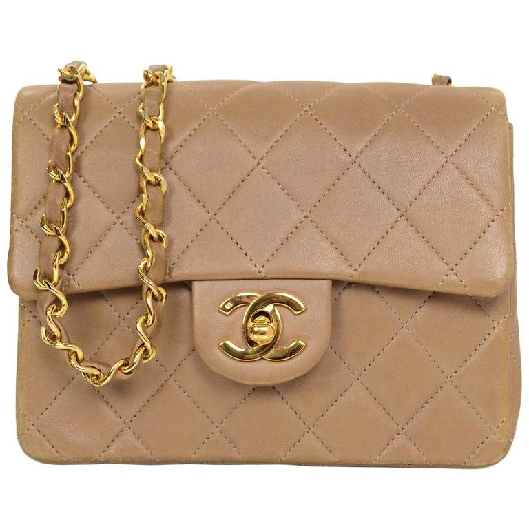 Chanel Light Brown Quilted Lambskin Square Mini Flap Bag For