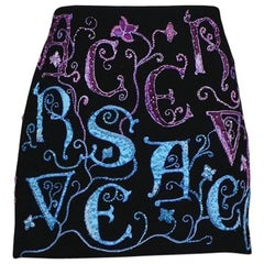 Versace Atelier Black Embellished Mini Skirt