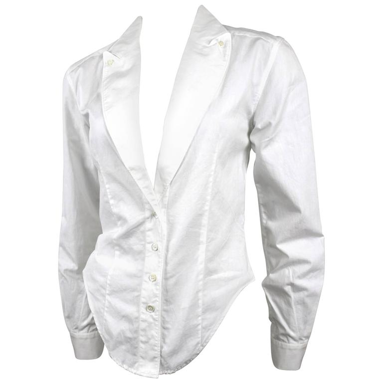 Alexander McQueen 1990's Fitted Lapel Blouse For Sale