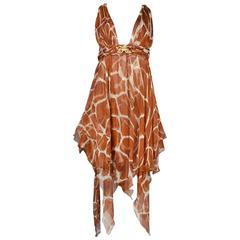 Roberto Cavalli Giraffe Halter Dress