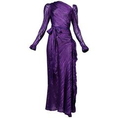 Yves Saint Laurent Royal Purple Satin Gown 1980