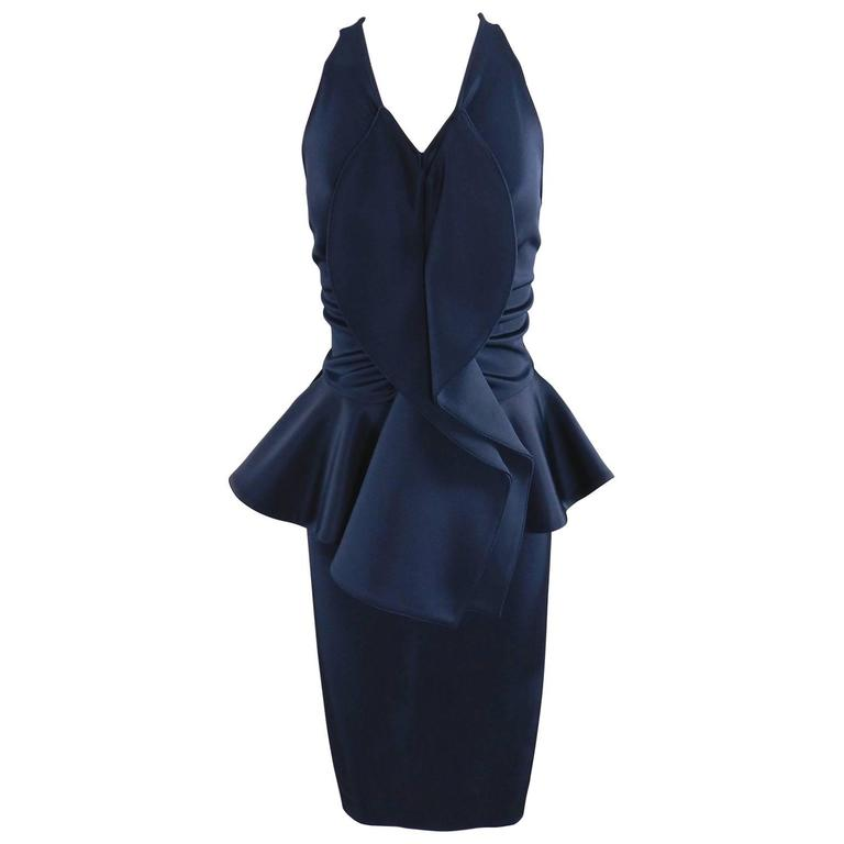 Givenchy Navy Stretch Dress with Ruffle Peplum 1