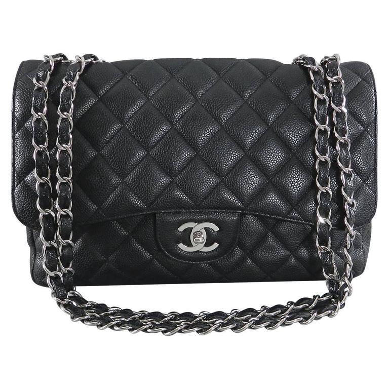 Chanel Caviar Single Flap Jumbo Classic Bag With Silver Hardware For