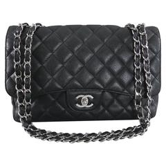 Chanel Caviar single flap Jumbo Classic Flap Bag with silver hardware