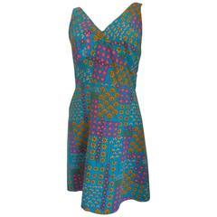 1970s Light Blu Flowers Dress