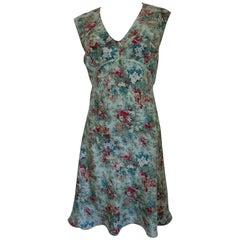 Vintage Light blu multicolour flowers Blunautica silk Dress