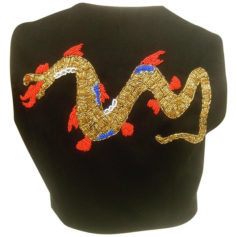 Dolce and Gabbana Exotic Glass Beaded Dragon Vest Size 42  For Sale