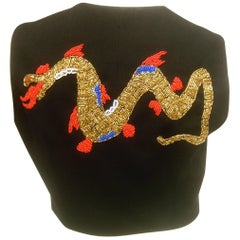 Dolce and Gabbana Exotic Glass Beaded Dragon Vest Size 42