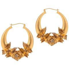 Alexander McQueen NEW Gold Swarovski Crystal Hoop Earrings in Box
