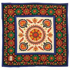 Yves Saint Laurent Vintage Silk Scarf Multicolor Bohemian Floral Print