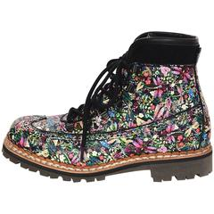 Tabitha Simmons Bexley Floral Print Combat Boots sz 38.5