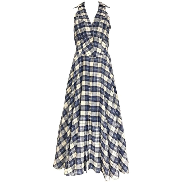 1990s THIERRY MUGLER Blue and White Plaid Vintage 90s dress