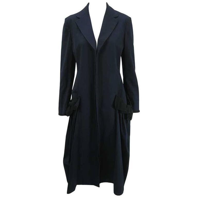 Yohji Yamamoto +Noir Navy Coat with Oversize Pockets