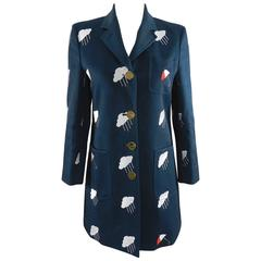Thom Browne Navy Embroidered Coat with Umbrellas and Clouds