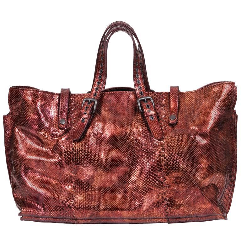 27253b93b754 Bottega Veneta Metallic Rust Python Tote Bag For Sale at 1stdibs