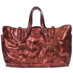 Bottega Veneta Metallic Rust Python Tote Bag
