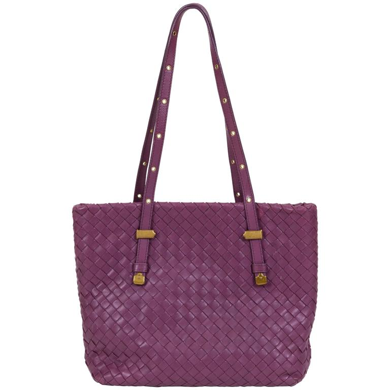 Bottega Veneta Purple Woven Medium Tote  Bag