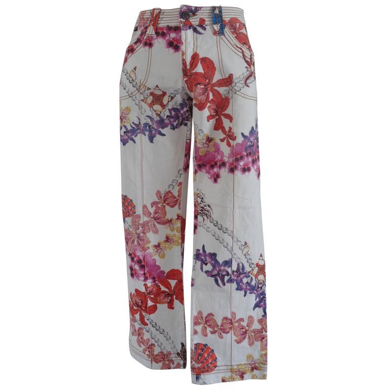 Roberto Cavalli multicolour Flowers Cotton Jeans